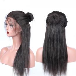 Yaki Human Hair Wigs Bangs Australia - 2018 100% unprocessed virgin remy human hair bangs yaki straight best natural color full lace wig for women