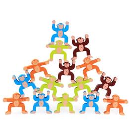 Train blocks online shopping - Wooden Puzzle Blocks Fun Toys Cute Monkey Balance Block Game Children Hand Eye Coordination Training Balance Ability zk W