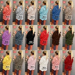 Discount ladies tracksuits - women flannel pajamas casual suit hoodie shorts sports suit letter pullover short pants nightdress tracksuit lady fall w