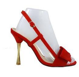 6b73c364ebc Red Faux Suede Stiletto Heel Women Sandals Buckle Strap Slingback Women  Pumps Butterfly-Knot Cut-Outs High Heels Shoes