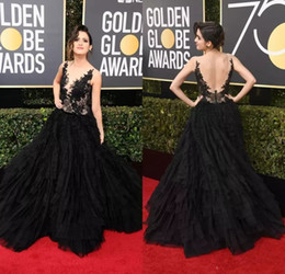 golden line dress Canada - Back Lace 2019 Laura Marano Annual Golden Globe Awards Party Dresses A-Line Sleeveless Evening Gown Sexy Backless