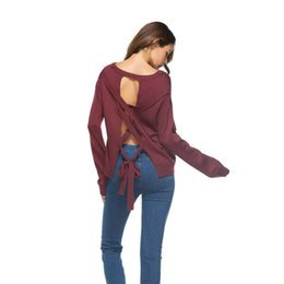 Soft Loose Knit Sweater UK - 2018 Backless Winter Women Sweater Lace up knitted Women sleeve loose pullover female Soft warm autumn casual jumper