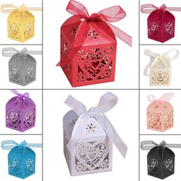 Wholesale Heart Candy Boxes Australia - 100pc Love Heart Candy Boxes Angel Gift Box For Baby Shower Baptism Birthday Wedding Party Easter Decoration With Ribbon 5x5x8cm