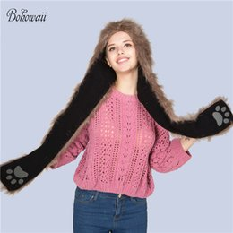 Bohowaii Christmas Animal Hoodies Warm Fluffy And Soft Women Winter Hats And Scarf 3 In 1 Adult Unicorn Hat Scarf Products Hot Sale Women's Accessories Apparel Accessories
