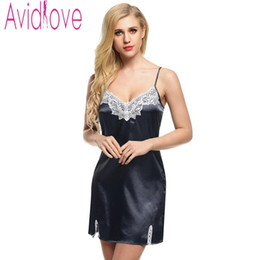 2f840d47ef Avidlove Night Dress Women Sleepwear Nighty Satin Dress Nightgown Lace  Splicing Nightwear Spaghetti Mini Robes vestidos mujer