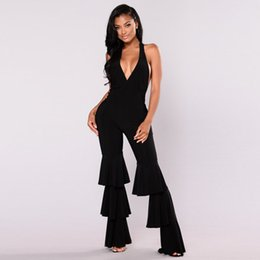 Black Halter Jumpsuits Women NZ - Sexy Ruffles Details Pant Wide Leg Overalls Black Red Women Halter Backless One Piece Long Jumpsuit Plus Size Enteritos Mujer
