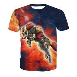 d87c46902bbf Galaxy Wolf Print T-Shirt Fitness Men Space Animal 3D Tee Tops Harajuku  Boys Tees Summer Short Sleeve T shirts Wolves Clothing