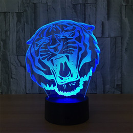 illusions paintings Australia - Abstractive 3D Optical Illusion Animal Tiger Colorful Lighting Effect Touch Switch USB Powered LED Decoration Night Light Desk Lamp