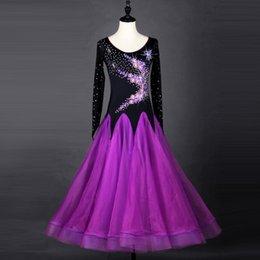 Ingrosso Vestito da prestazione da ballo da ballo standard da sala da ballo di balletto da ballo viola da ballo da sala da ballo donna