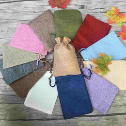 Small drawString linen bag online shopping - 13 cm beige Linen Fabric Drawstring bags Candy Jewelry Gift Pouches small package bags MMA203