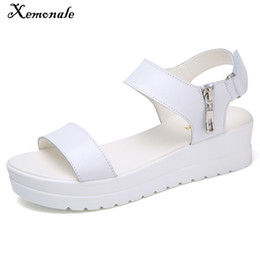 $enCountryForm.capitalKeyWord Australia - Xemonale Summer Women Thick Sole Sandals Shoes Real Leather Zipper Med Heels Casual Sandals Shoes Women White Gladiator Sandals