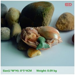 plastic terrariums 2019 - Everyday Collection Resin Seashell Sleeping Terrarium Figurine Mermaid Garden Decoration & Home Decoration Accessories d