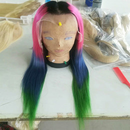 blue black lace wig NZ - T1b Pink Blue Green 4T Ombre Human Hair Lace Front Wigs For Black Women Cheap Glueless Full Lace Wigs Straight Indian Virgin Hair