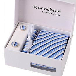 China Ikepeibao Men Blue Striped Ties Wide Neckties Set with Cufflink Hanky On Line Shopping Necktie for Business Wedding cheap paisley floral necktie suppliers