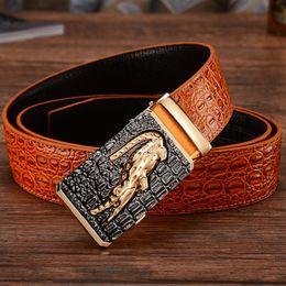 Crocodile Mans Belt Canada - New Arrival 2017 Fashion Men's Buckle Genuine Leather Belt Men Casual Crocodile Leather Belt Wholesale Free Shipping