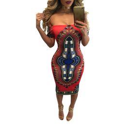 7af50fb9da3c 2018 Summer Women Traditional African Printed Dashiki Bodycon Sexy Short  Sleeve Dress Off Shoulder Dress Women Vestidos
