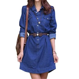 $enCountryForm.capitalKeyWord UK - Korean style Female Sexy Casual Loose A-Line Denim Dresses Womens T-Shirt Jeans Dress Graceful One-piece Skirt