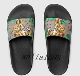Sole flip flopS menS online shopping - 2018 mens fashion outdoor beach trek slide sandals with green bengal tiger printing leather and thick rubber sole