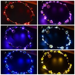 Discount hair decorations for brides - Flower Rattan Wreath LED Headband Colorful Glowing In The Dark Headwear Bride Women Hair Band For Travel 2 4zc B