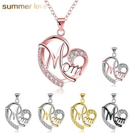 family word charm NZ - Fashion 7 Style Heart With Zircon Mom Love Charm Necklace Love Family Jewelry Mother Pendant Word Gifts Wholesale 2018 New Arrived