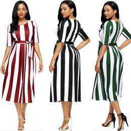 sexy elegant women summer dress casual striped o neck half sleeve dress slim belted office work formal dress circus christmas party sundress