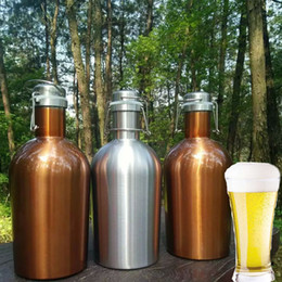 Hip Flasks Wholesale Canada - Newest 64oz Stainless Steel Hip Flasks 3 Color Beer Growler Swing Whiskey Cold Beer Bottle With Lid Hip Flask Wine Pot WX9-260