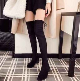a549a4c91ce Latest women boots fashion autumn winter ladies flat heel boots over the knee  thigh-high shoes suede long boots