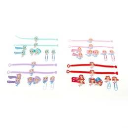 Kids Bookmarks UK - 8pcs Cute PVC Mermaid Hair Clip Bookmark Mermaid Party Decoration Bracelet Ring Birthday Party Decorations Kids Favors