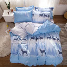 Discount deer bedding sets - Deer Cute Cartoon Bedding Sets blue White Elk Snowflake tree Duvet Cover Pillowcase 3 4pcs twin full queen king size Bed