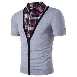 Mens patchwork plaid shirts online shopping - Summer Mens Business Shirt Patchwork Plaid Printe Turn down Collar Inside Shirt Short Sleeve T shirt Top