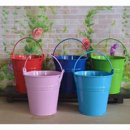 Discount tin buckets favors - 8*7.5*5.5cm Mini Tin Buckets Hanging Flower Pot Flower Arranging Flower Basket Wedding Candy Mini Bucket Candy Box Weddi