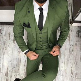 Wholesale images gray white clothes online – design Arm Green Mens Suits for Groom Tuxedos Notched Lapel Slim Fit Blazer Three Piece Jacket Pants Vest Man Tailor Made Clothing