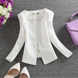 4d8ce5e0eb 3XL Wholesale 2018 new small fragrant wind diamond beaded cardigan jacket  suit woman Slim short women blazer w1071