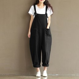$enCountryForm.capitalKeyWord Australia - Women Vintage Rompers 2017 Autumn Winter Loose Strap Thick Warm Pocket Jumpsuits Dungaree Harem Trousers Girl Overall Pant