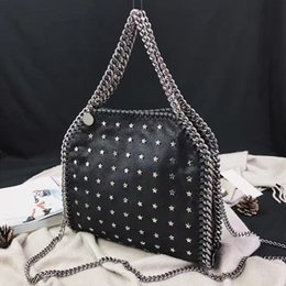 Falabella Chain Bag Canada - free shipping fashion Silver chain Stars Falabella Shaggy Deer fold over 3 Chain Women shoulder Bags Size 25x26x10cm black colors Suede