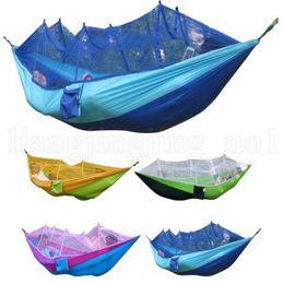 Mosquitera Hamaca 12 Colores 260 * 140 cm Campo de Tela de Paracaídas Al Aire Libre Tienda de Campaña de Camping Columpio Colgando Cama OOA2117