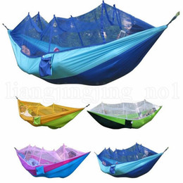 Discount camp swing hammock - Mosquito Net Hammock 12 Colors 260*140cm Outdoor Parachute Cloth Field Camping Tent Garden Camping Swing Hanging Bed OOA
