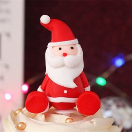 Cupcake Trees Australia - Christmas Plastic Cake Topppers Flags Santa Claus Christmas tree shaped Party Decor Happy Birthday Cupcake Cake Topper Baby Shower New