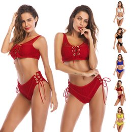 $enCountryForm.capitalKeyWord NZ - 2018 New Sexy Two Piece Set Women Lace Bandage Crop Top+Shorts Fashion Female Set Summer Black Red Club Outfits Women's Suit