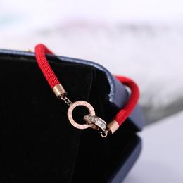 8106334f2a3b YUN RUO Número Romano Circón Línea Roja Pulsera Moda Elegante Mujer Regalo  de la muchacha Oro Rosa Color Joyería de Acero de Titanio Nunca Se  Desvanecen