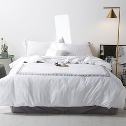 White Hotel Bedding NZ - White Grey Bedding Set 100%Cotton Hotel Queen King size Bed sheet set Bed Duvet cover Bedlinen Pillowcase
