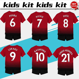 24df192ba  7 ALEXIS soccer Jersey Kids Kit 2018 19  6 POGBA home red Soccer Jerseys  Youth Sets  10 RASHFORD Child Soccer Shirts uniform jersey+shorts