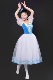 professional ballet tutu blue 2019 - Professional Ballet Leotards For Women Adult Romantic Ballet Tutu Rehearsal Long Tulle Practice Skirt Dress For Girl Kid