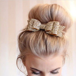 $enCountryForm.capitalKeyWord Australia - 1 Pcs Lady Girls Sequin Big Bowknot Barrette Hairpin Hair Women Hair Clips Hair Bow Accessories