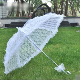 Umbrella Photography NZ - Lace Wedding Parasols white Bridal Umbrella Creative handcraft automatic Wedding Photography Props Wedding supplies direct selling