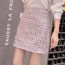 01aaea8360d Women Twee Skirt 2018 Autumn Winter White Skirts Office Ladies Sweet Cute  Elegant Pink High Waist Fringe Tassel Short Skirt Pink