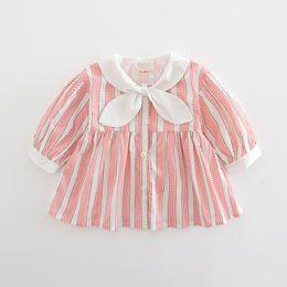 $enCountryForm.capitalKeyWord NZ - Baby Girls Dress Preppy Style Autumn Lantern Sleeve Baby Girls Clothing Striped Kids Clothes Cute Dress with Big Bow 0-2T