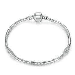 $enCountryForm.capitalKeyWord UK - New Hot Sells 10 Style 925 Silver LOVE Snake Chain Bracelet & Bangle 16CM-19CM Pulseras Lobster for Beads