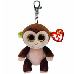 """Stuffed Monkey Plush Wholesale NZ - Pyoopeo Ty Beanie Boos 4"""" 9cm Audrey the Monkey Clip Plush Keychain Big-eyed Stuffed Animal Collectible Doll Toy with Heart Tag"""