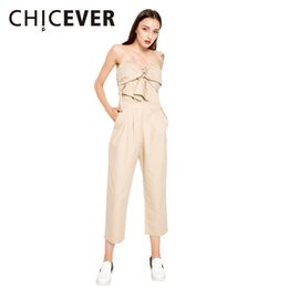 CHICEVER Summer Tube Tops Sexy Off Shoulder Baldric Women's Jumpsuit Trousers For Women Ankle Length Pants New Clothes